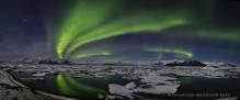 Jokulsarlon Aurora Borealis reflection