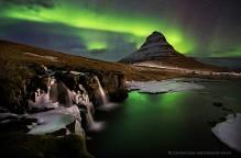 Kirkjufellsfoss,Iceland,Aurora Borealis,Northern Lights,Kirkjufellsfoss Aurora Borealis,Kirkjufell,Snaefellsness Peninsu