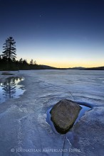 Planetary Rocks' Orbits,Venus,Jupiter,alignment,evening,night,sky,stars,Lake Durant,spring,ice,receding,lake,rock,planet