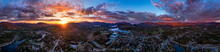 Lake Placid, ski jumps, the High Peaks, and Whiteface Mt 360 degree drone panorama over center of to