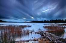 Little Tupper Lake,cross-streaking clouds,streaking clouds,clouds,long exposure,November,2012,log