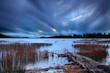 Little Tupper Lake,cross-streaking clouds,streaking clouds,clouds,long exposure,November,2012,log