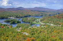 Long Lake, town, of, Adirondacks Park, village, aerial
