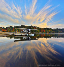 Long Lake,Long Lake town beach,floatplane,reflection,fall,