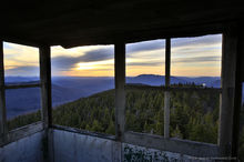 Loon Lake Mountain firetower cabin view of sunset over Debar Mt