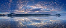Loon Lake,reflection,panorama,Loon Lake Mt,clouds