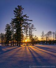 Meacham Lake state campground winter sunset through tall white pines