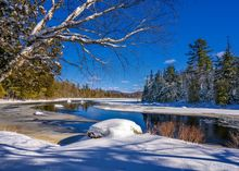 Meacham Lake,Meacham Lake outlet,winter,2020,blue sky,