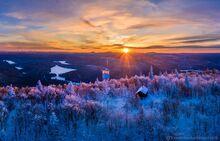 Mt. Arab Firetower and observers cabin in winter sunset light