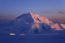 Mt. Foraker, alpenglow, midnight, arctic, sun, Denali, 14200 camp