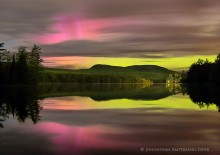 Newberry Pond, Aurora Borealis,Northern Lights,pink and yellow,night,austral,Adirondack Park,Adirondacks,Adirondack auro