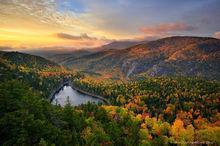 The Nubble,Giant's Washbowl,Giant Mt,Giants Washbowl,Nubble,autumn,sunrise,Round Mt,mountain,pond,mountain pond,warm light,light,spectacular sunrise,treetop,High Peaks,Adirondacks,Adirondack Mountains
