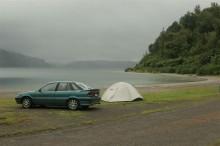 beautiful, camping, area, lakeside, beach, tenting, car, lake, New Zealand, shore