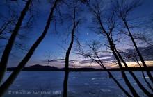 Venus,Jupiter,alignment,conjunction,evening,night,sky,stars,Lake Eaton,birches,sillouette,Owl's Head Mt,planets,spring,i