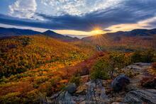 Owls Head Mt sunset Pitchoff Mt Cascade and Cascade Pass