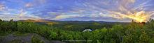 Panther Mountain Summit Treetop 180 degree panorama of Ampersand Mt, Seward Range, Panther Mt Pond