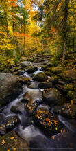 Pine Brook, vertical panorama, tributary, fall, 2020, North Point Rd, boulders, stream, brook,