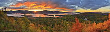 The Pinnacle,Lake George,Bolton Landing,autumn,sunrise,panorama,