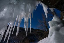 Pitchoff Mt,icicles,moon,night,moonlight,Pitchoff Mt cliffs,Cascade Pass,winter,March,2020