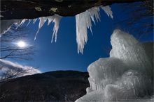 Pitchoff Mt,icicles,moon,night,moonlight,Pitchoff Mt cliffs,Cascade Pass,winter,March,2020,Pitchoff Mt icicles