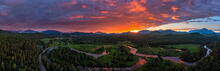 Lake Placid, ski jumps, the High Peaks, and Whiteface Mt 270 degree drone panorama over River Road r