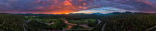 Lake Placid, ski jumps, the High Peaks, and Whiteface Mt 360 degree drone panorama over River Road r