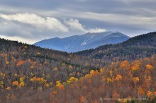 Round Pond,Dix Mt,Dix Mountain,ledges,Round Pond ledges,fall,telephoto,yellow,birches,aspens,autumn snowfall,