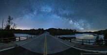 Route 3 bridge over Second Pond under the arching Milky Way