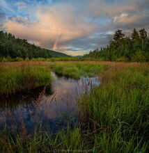 Salmon Pond Outlet into South Pond rainbow