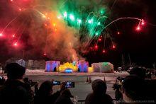 Saranac Lake winter carnaval fireworks over ice palace January 2020