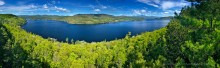 Schroon Lake,spring,springtime,fresh,green,leaves,treetop,panorama,180