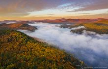 Schroon Lake,Browns house,fall,sunrise,2019,drone,aerial,Gore Mt,south,lake,fog,town of Adirondack