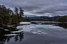 Second Pond,Saranac Lakes,late winter,ice,March,2020,breaking up,