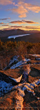 Silver Lake Mt,Silver Lake Mountain,November,sunset,Silver Lake,Taylor Pond,Whiteface Mt,Catamount Mt,snow dusting,November snow,northern Adirondacks,Adirondacks,Adirondack,mountain,vertical panorama,