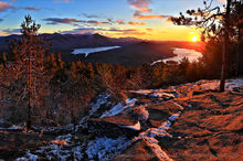 Silver Lake Mt,Silver Lake,Taylor Pond,Whiteface Mt,Catamount,November,sunset,