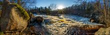 Sinclair Falls on the Grass River in April sunlight 180 degree panorama