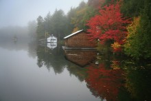 Sixth Lake, boathouse, morning, fog, lake, Adirondack Park
