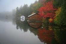 Sixth Lake, boathouse, morning, fog, lake, Adirondack Park