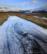Skaftafell, plains, frozen pond, ice, patterns,