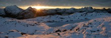 Mt. Memphis, Dusky Track, Fiordland National Park, early, winter, snow, sunset, Darran Mountains, wilderness, panorama