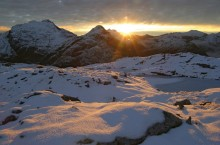 Mt. Memphis, Dusky Track, Fiordland National Park, early, winter, snow, sunset, Darran Mountains, wilderness
