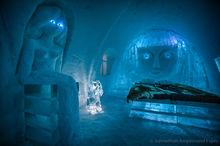 Illuminated Ice Hotel near Kiruna, Sweden