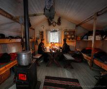 Dinner in a warm cabin in Sweden