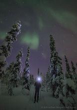 Cross country skiing under the aurora borealis