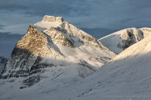 Sunlight and shadows on the mountains in Abisko, Sweden