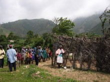Jeantilhome townspeople by church, Haiti