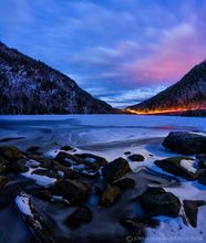 Upper Cascade Lake twilight stars and vehicle light trails