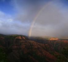 Waimea Canyon, rainbow, Kauai, Kaua'i, Hawaii, waterfalls, waterfall, above, canyon