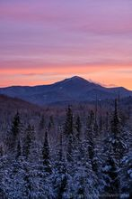Whiteface Mt from River Road area winter dawn