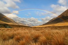 Windon Burn,valley,rainbow,Mavora Lakes, New Zealand,tussock,grasses,